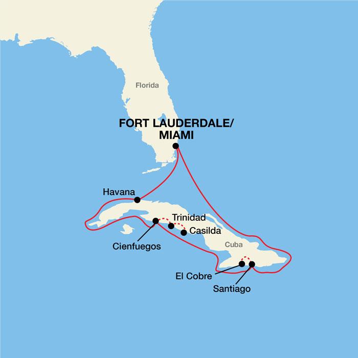 Florida To Cuba Map.Cuba Cultural Cruises Pearl Seas Cruises